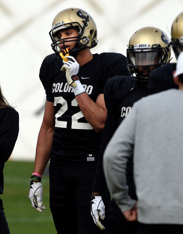 . BOULDER, CO - April 5, 2019:  Receiver, Daniel Arias,  during University of Colorado Spring football practice on April 5, 2019. (Photo by Cliff Grassmick/Staff Photographer)