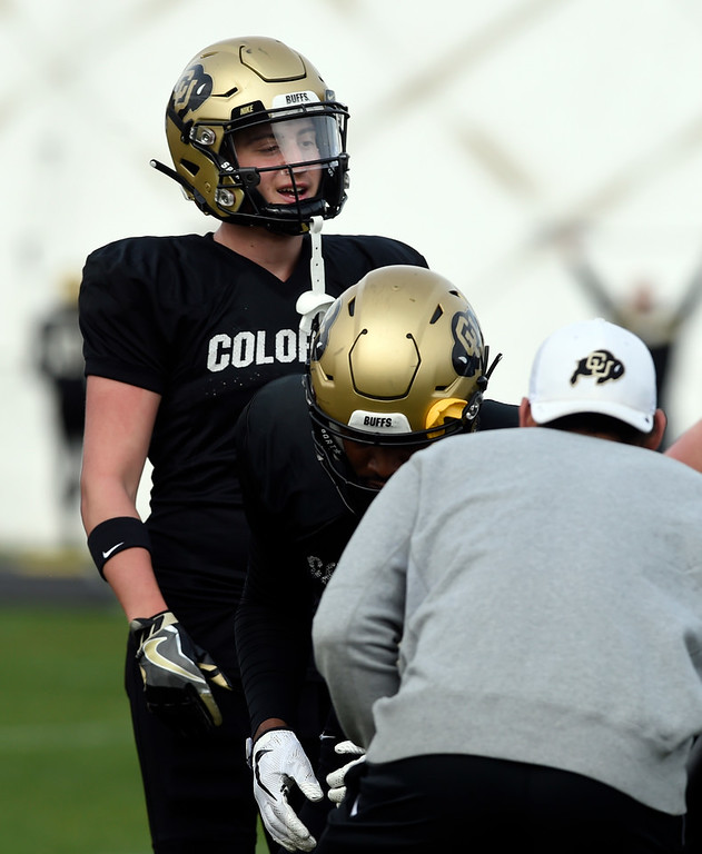 . BOULDER, CO - April 5, 2019: Receiver, Curtis Chiaverini,  during University of Colorado Spring football practice on April 5, 2019. (Photo by Cliff Grassmick/Staff Photographer)