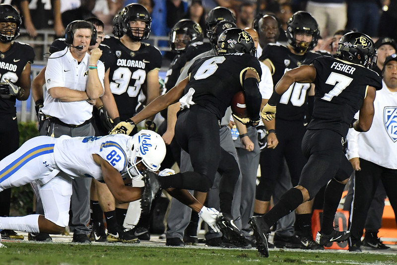 Colorado Buffaloes defensive back Evan Worthington (6) intercepts a UCLA Bruins pass in the second half of a NCAA college football game at the Rose Bowl in Pasadena, Calif., Saturday, Sept. 30, 2017. UCLA Bruins won 27-23. (Photo by Keith Birmingham, Pasadena Star-News/SCNG)