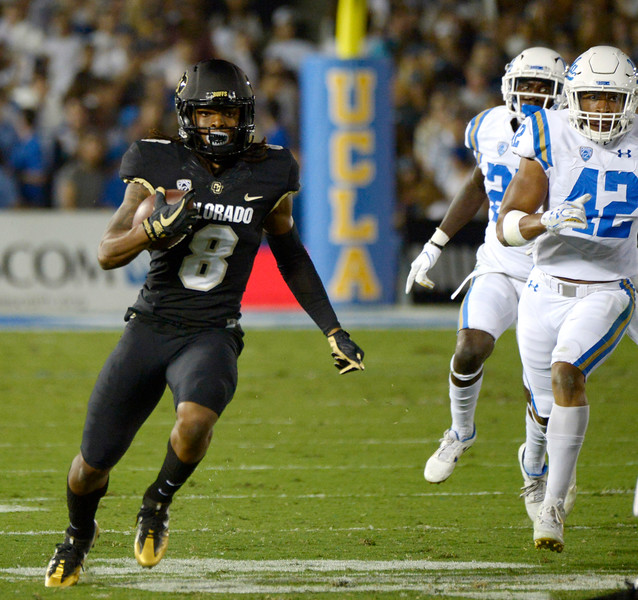 Colorado Buffaloes running back Alex Fontenot (8) runs for a first down against the UCLA Bruins ain the first half of a NCAA college football game at the Rose Bowl in Pasadena, Calif., Saturday, Sept. 30, 2017. (Photo by Keith Birmingham, Pasadena Star-News/SCNG)