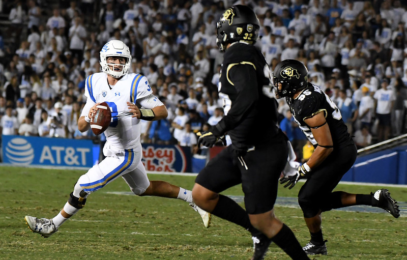 UCLA Bruins quarterback Josh Rosen (3) scrambles against the Colorado Buffaloes in the second half of a NCAA college football game at the Rose Bowl in Pasadena, Calif., Saturday, Sept. 30, 2017. UCLA Bruins won 27-23. (Photo by Keith Birmingham, Pasadena Star-News/SCNG)