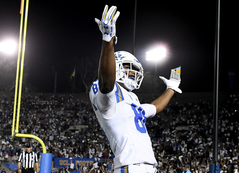UCLA Bruins tight end Austin Roberts (88) reacts after catching a pass for a touchdown against Colorado Buffaloes in the first half of a NCAA college football game at the Rose Bowl in Pasadena, Calif., Saturday, Sept. 30, 2017. (Photo by Keith Birmingham, Pasadena Star-News/SCNG)