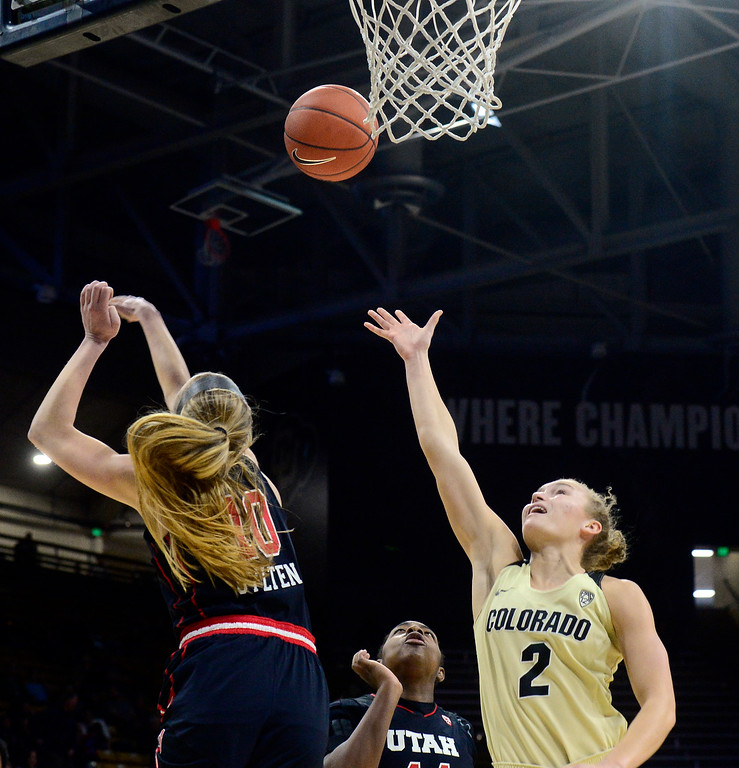 . BOULDER, CO - DECEMBER 30,  2018 University of Colorado\'s Alexis Robinson shoots against Utah\'s Dru Gylten at the CU Events Center on the University of Colorado Boulder Campus on Sunday December 30, 2018. More photos go to buffzone. com  (Photo by Paul Aiken/Staff Photographer)