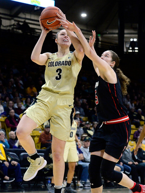 . BOULDER, CO - DECEMBER 30,  2018 University of Colorado\'s Emma Clarke shoots over Utah\'s Megan Huff at the CU Events Center on the University of Colorado Boulder Campus on Sunday December 30, 2018. More photos go to buffzone. com  (Photo by Paul Aiken/Staff Photographer)