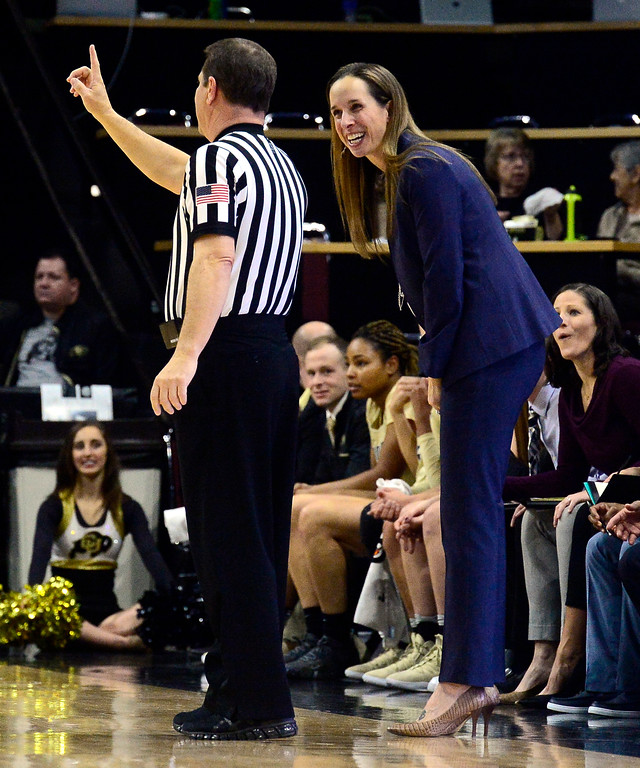 . BOULDER, CO - DECEMBER 30,  2018 University of Colorado\'s JR Payne talks to a referee about a call during their game vs Utah at the CU Events Center on the University of Colorado Boulder Campus on Sunday December 30, 2018. More photos go to buffzone. com  (Photo by Paul Aiken/Staff Photographer)