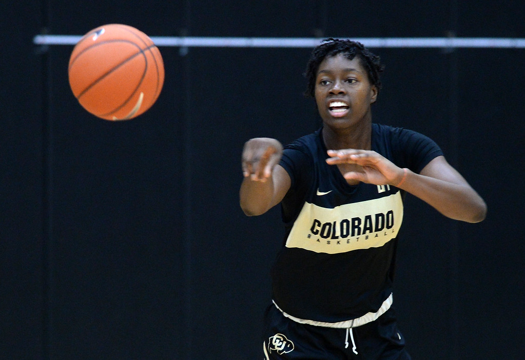 . BOULDER, CO: October 5, 2018:  Mya Hollingshed during practice on October 5, 2018. (Photo by Cliff Grassmick/Staff Photographer)
