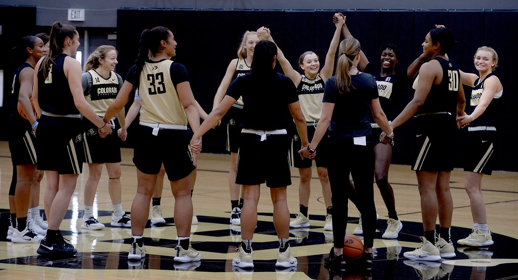. BOULDER, CO: October 5, 2018: CU WBB practice starts out with some fun on October 5, 2018. (Photo by Cliff Grassmick/Staff Photographer)