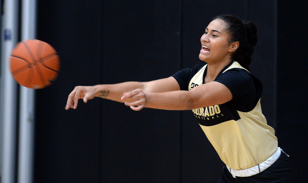 . BOULDER, CO: October 5, 2018:  Serena Tuitele during practice on October 5, 2018. (Photo by Cliff Grassmick/Staff Photographer)