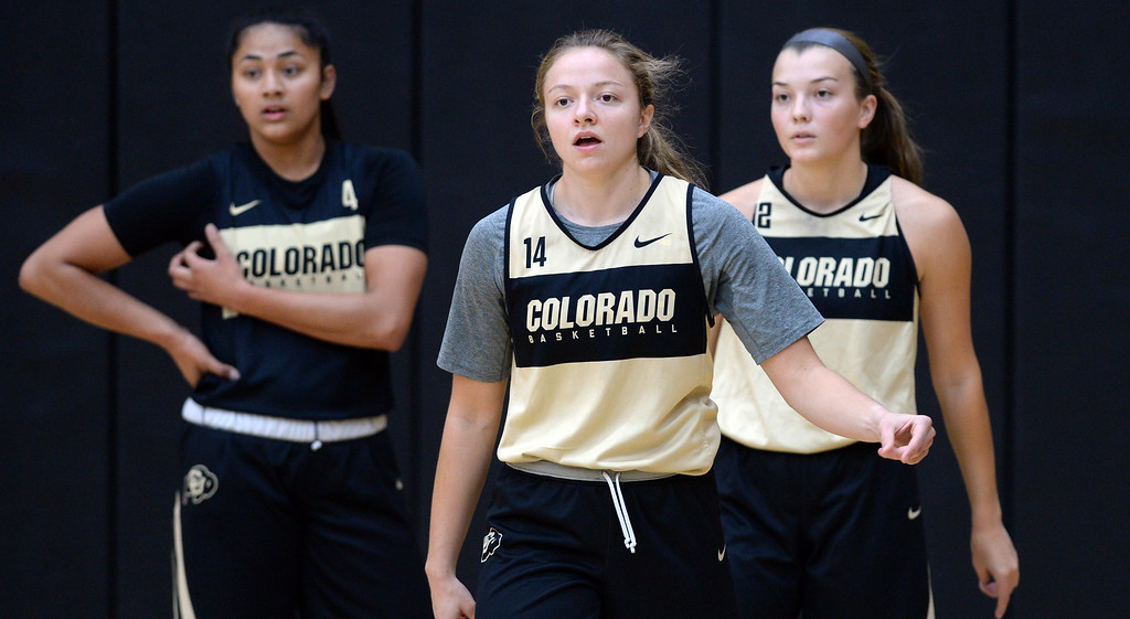 . BOULDER, CO: October 5, 2018: Lisela Funau, left, Kennedy Leonard, and Peyton Carter,  during practice on October 5, 2018. (Photo by Cliff Grassmick/Staff Photographer)