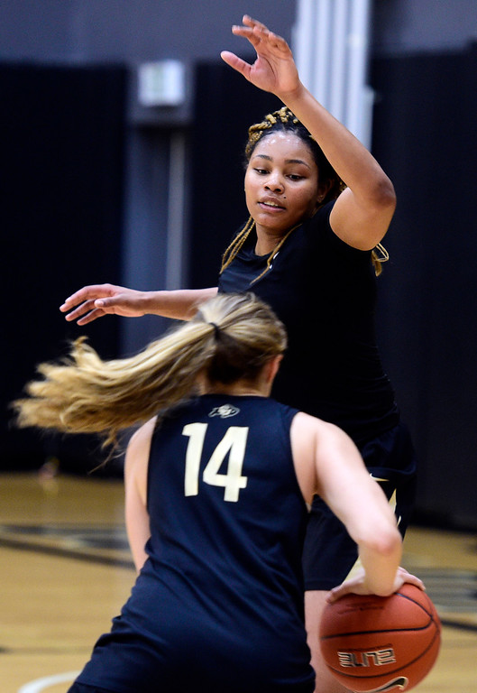 . BOULDER, CO: April 17, 2019: Kai Volcy on defense during a practice session on April 17, 2019. (Photo by Cliff Grassmick/Staff Photographer)
