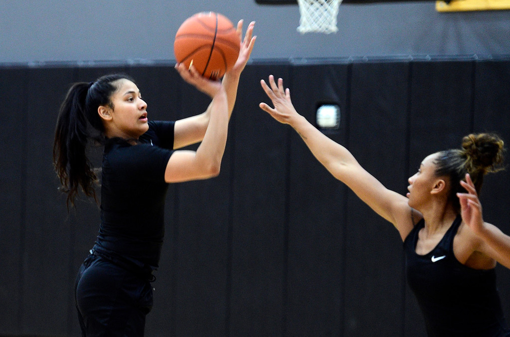 . BOULDER, CO: April 17, 2019: Lesila Finau shooting during a practice session on April 17, 2019. (Photo by Cliff Grassmick/Staff Photographer)