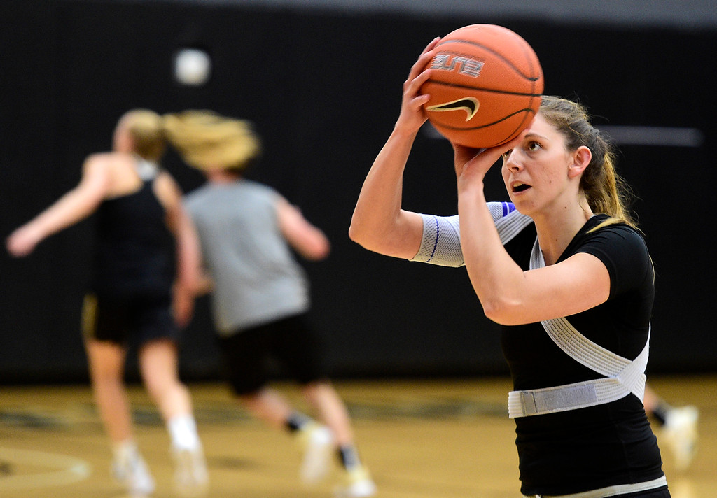 . BOULDER, CO: April 17, 2019: Aubrey Knight  during a practice session on April 17, 2019. (Photo by Cliff Grassmick/Staff Photographer)