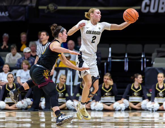 The NCAA PAC12 Women's Basketball game between the University of Colorado Buffaloes (CU) and the Arizona State University Sun Devils (AS) at the Coors Event Center on the University of Colorado campus in Boulder, Colorado.  Final score of the game was the Arizona State University Sun Devils - 72 and the CU Buffaloes - 47.
