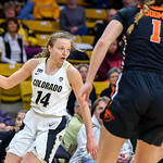January 28, 2018 Boulder, Colorado, USA; Colorado Buffaloes guard Kennedy Leonard (14) looking to pass the ball during the 2nd quarter of the NCAA PAC12 Women's Basketball game between the University of Colorado Buffaloes (CU) and the Oregon State University Beavers (OS) at the Coors Event Center on the University of Colorado campus in Boulder, Colorado.<br /> <br /> Final score of the game was the Oregon State Beavers - 86 and the CU Buffaloes - 71. <br /> <br /> Photo Credit: Al Milligan-KLC fotos