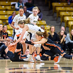 The NCAA PAC12 Women's Basketball game between the University of Colorado Buffaloes (CU) and the Oregon State University Beavers (OS) at the Coors Event Center on the University of Colorado campus in Boulder, Colorado.  Final score of the game was the Oregon State Beavers - 86 and the CU Buffaloes - 71.