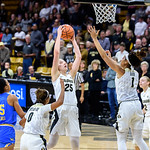 NCAA PAC12 Women's Basketball game between the University of Colorado Buffaloes (CU) and the University of  California Los Angeles - UCLA (UC) at the Coors Event Center on the University of Colorado campus in Boulder, Colorado.  Final score of the game was the UCLA Bruins - 93 and the CU Buffaloes - 55.