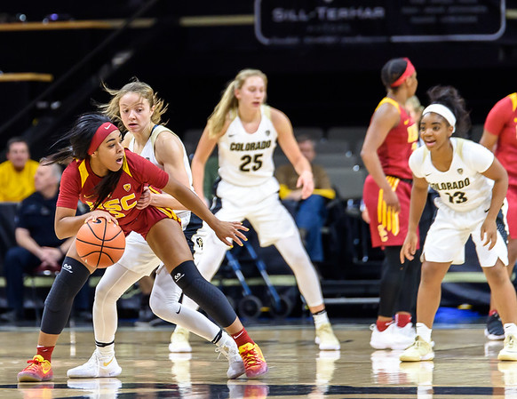 The NCAA PAC12 Women's Basketball game between the University of Colorado Buffaloes (CU) and the University of Southern California (SC) at the Coors Event Center on the University of Colorado campus in Boulder, Colorado.  Final score of the game was the and the USC Trojans - 86 and the CU Buffaloes - 51.