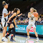 The NCAA PAC12 Women's Basketball game between the University of Colorado Buffaloes (CU) and the University of Utah Utes (UU) at the Coors Event Center on the University of Colorado campus in Boulder, Colorado.  Final score of the game was the Utah Utes - 78 and the CU Buffaloes - 74.