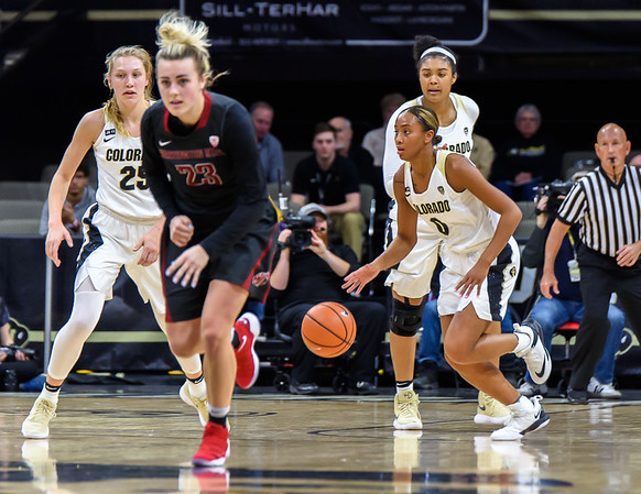 The NCAA PAC12 Women's Basketball game between the University of Colorado Buffaloes (CU) and the Washington State University Cougars (WS) at the Coors Event Center on the University of Colorado campus in Boulder, Colorado.  Final score of the game was the CU Buffaloes - 72 and the Washington State University Cougars - 69.