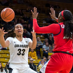NCAA PAC12 Women's Basketball game between the University of Colorado Buffaloes and the University of Arizona Wildcats at the CU Event Center on the University of Colorado campus in Boulder, Colorado. on January 04, 2019.