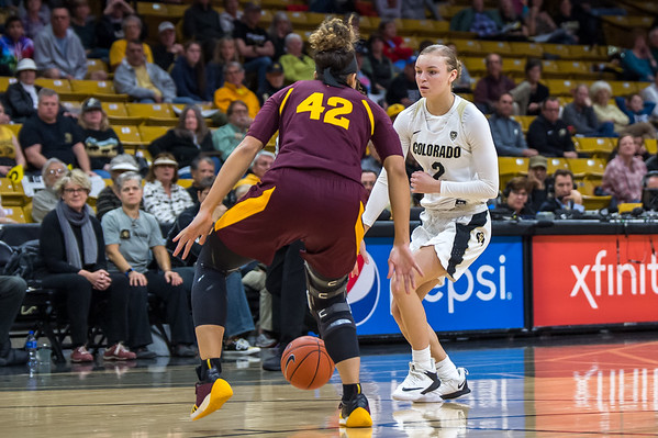 NCAA PAC12 Women's Basketball game between the University of Colorado Buffaloes and the Arizona State UniversitySun Devils at the CU Event Center on the University of Colorado campus in Boulder, Colorado on January 06, 2019.