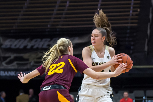 NCAA PAC12 Women's Basketball game between the University of Colorado Buffaloes and the Arizona State University Sun Devils at the CU Event Center on the University of Colorado campus in Boulder, Colorado on January 06, 2019.