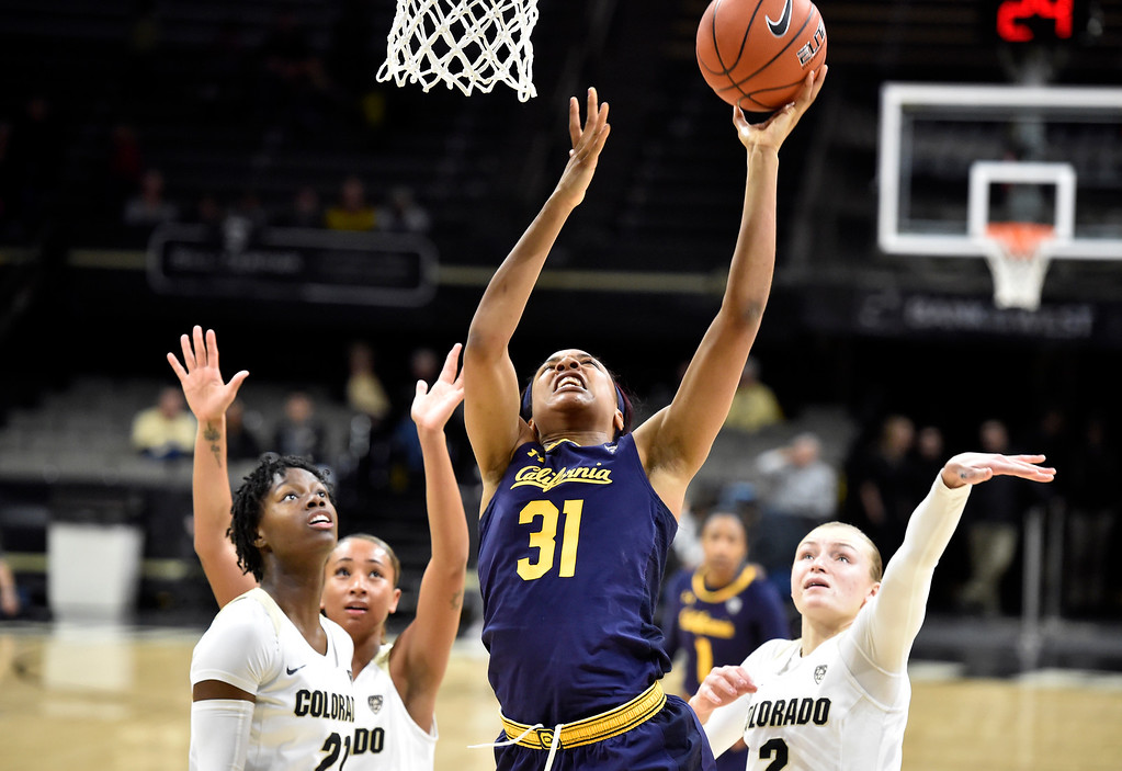 . BOULDER, CO - JANUARY 27, 2019: University of California\'s Kristine Anigwe takes a shot during a NCAA basketball game against the University of Colorado on Sunday at the Coors Event Center on the CU campus in Boulder. More photos: Buffzone.com (Photo by Jeremy Papasso/Staff Photographer)