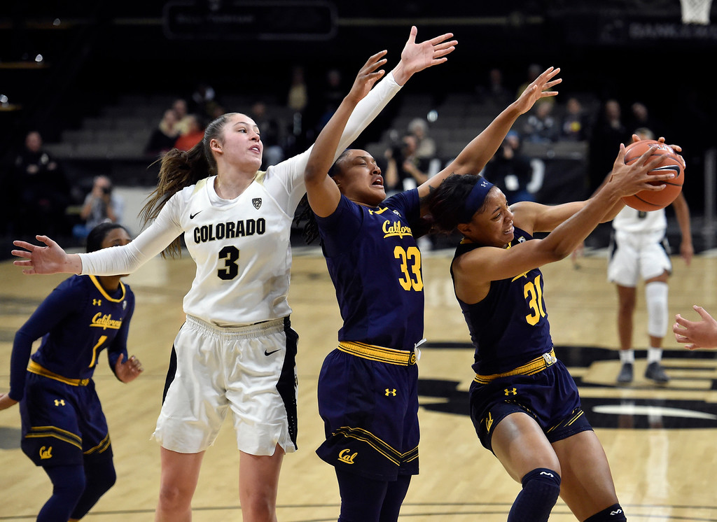 . BOULDER, CO - JANUARY 27, 2019: University of Colorado\'s Kristine Anigwe snags a rebound during a NCAA basketball game against the University of California on Sunday at the Coors Event Center on the CU campus in Boulder. More photos: Buffzone.com (Photo by Jeremy Papasso/Staff Photographer)