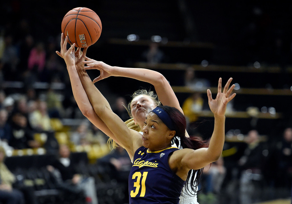 . BOULDER, CO - JANUARY 27, 2019: University of Colorado\'s Annika Jank fights for a rebound with Kristine Anigwe during a NCAA basketball game against the University of California on Sunday at the Coors Event Center on the CU campus in Boulder. More photos: Buffzone.com (Photo by Jeremy Papasso/Staff Photographer)