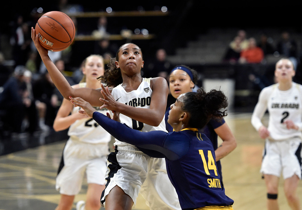 . BOULDER, CO - JANUARY 27, 2019: University of Colorado\'s Quinessa Caylao-Do during a NCAA basketball game against the University of California on Sunday at the Coors Event Center on the CU campus in Boulder. More photos: Buffzone.com (Photo by Jeremy Papasso/Staff Photographer)