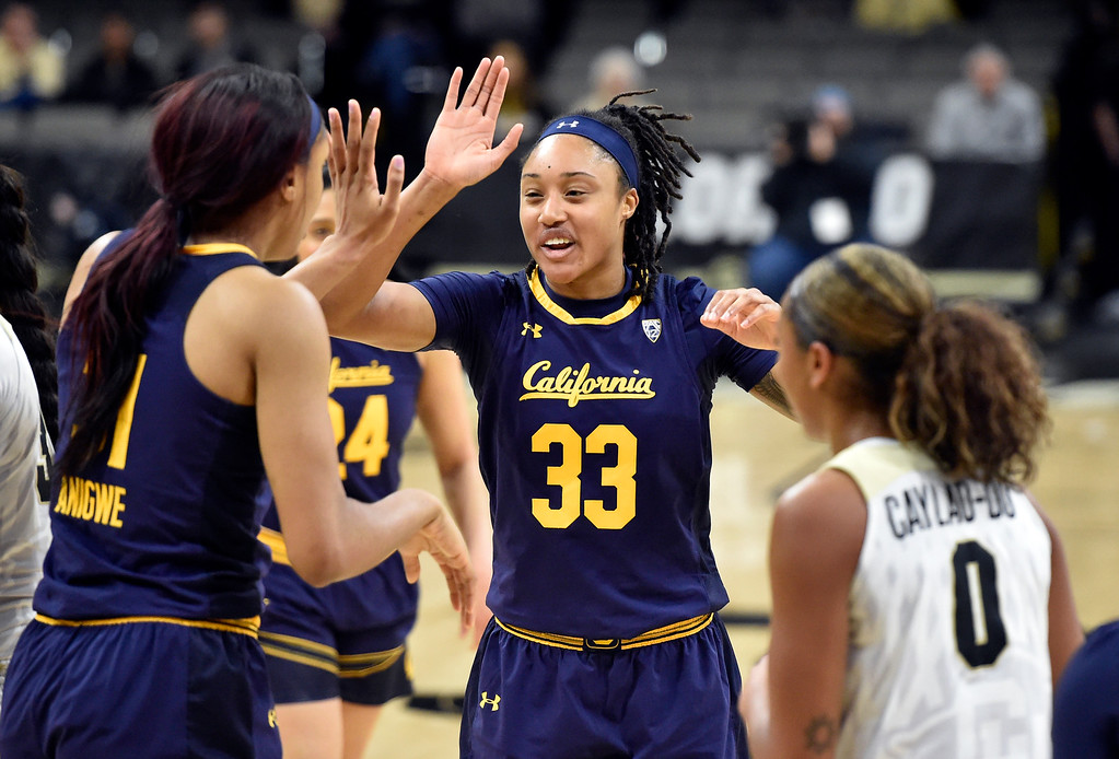 . BOULDER, CO - JANUARY 27, 2019: University of California\'s Jaelyn Brown, No. 33, celebrates a basket with teammate Kristine Anigwe during a NCAA basketball game against the University of Colorado on Sunday at the Coors Event Center on the CU campus in Boulder. More photos: Buffzone.com (Photo by Jeremy Papasso/Staff Photographer)
