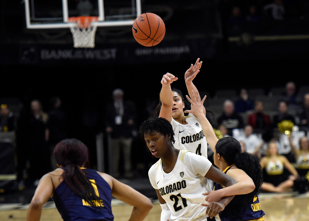 . BOULDER, CO - JANUARY 27, 2019: University of Colorado\'s Lesila Finau takes a shot during a NCAA basketball game against the University of California on Sunday at the Coors Event Center on the CU campus in Boulder. More photos: Buffzone.com (Photo by Jeremy Papasso/Staff Photographer)