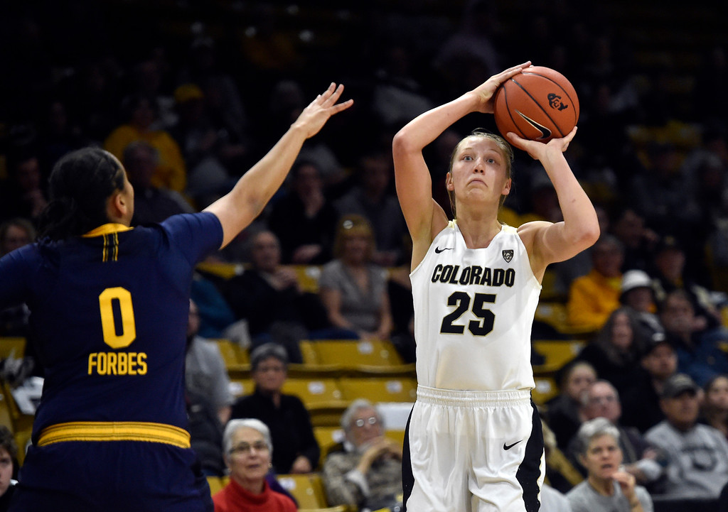 . BOULDER, CO - JANUARY 27, 2019: University of Colorado\'s Annika Jank takes a shot during a NCAA basketball game against the University of California on Sunday at the Coors Event Center on the CU campus in Boulder. More photos: Buffzone.com (Photo by Jeremy Papasso/Staff Photographer)