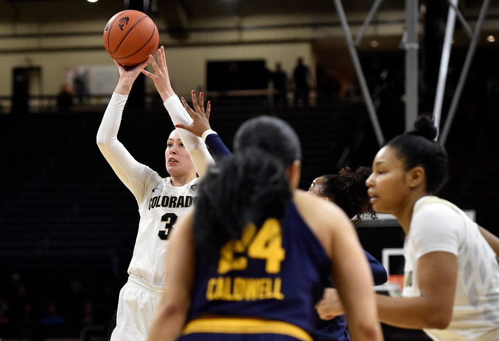 . BOULDER, CO - JANUARY 27, 2019: University of Colorado\'s Emma Clarke takes a shot during a NCAA basketball game against the University of California on Sunday at the Coors Event Center on the CU campus in Boulder. More photos: Buffzone.com (Photo by Jeremy Papasso/Staff Photographer)
