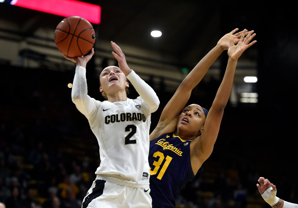 . BOULDER, CO - JANUARY 27, 2019: University of Colorado\'s Alexis Robinson takes a shot over Kristine Anigwe during a NCAA basketball game against the University of California on Sunday at the Coors Event Center on the CU campus in Boulder. More photos: Buffzone.com (Photo by Jeremy Papasso/Staff Photographer)