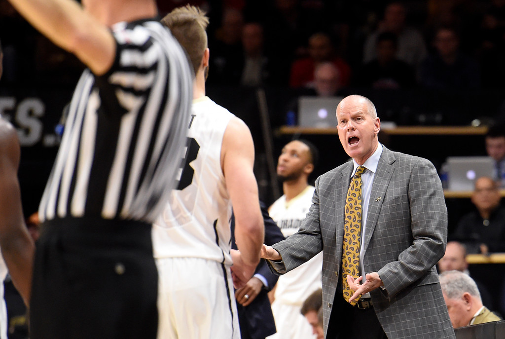 . University of Colorado head coach Tad Boyle yells to a player during a NCAA game against New Mexico on Wednesay at the Coors Event Center in Boulder. More photos: www.Buffzone.com Jeremy Papasso/ Staff Photographer 12/06/2017