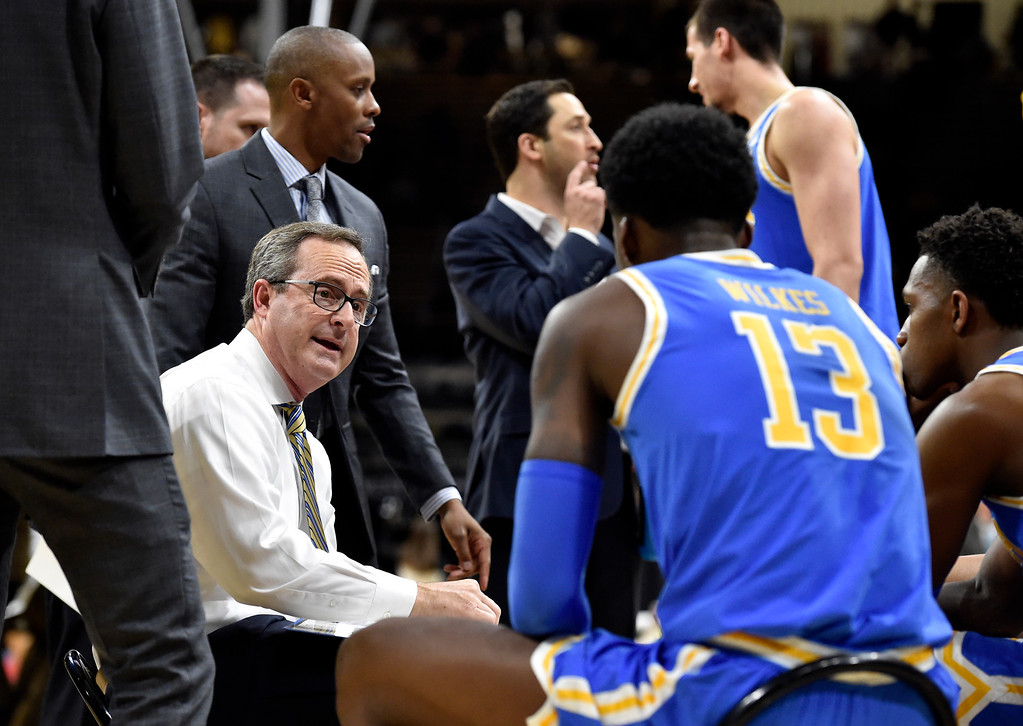 . BOULDER, CO - MARCH 7, 2019: UCLA Head Coach Murry Bartow talks with his team during a NCAA game against the University of Colorado on Thursday at the CU Events Center on the CU campus in Boulder. More photos: Buffzone.com  (Photo by Jeremy Papasso/Staff Photographer)