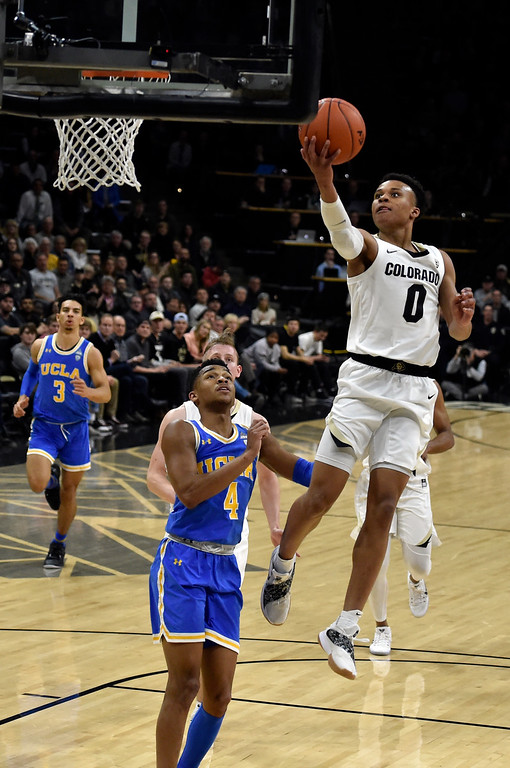 . BOULDER, CO - MARCH 7, 2019: University of Colorado\'s Shane Gatling goes for a layup after a fast break during a NCAA game against UCLA on Thursday at the CU Events Center on the CU campus in Boulder. More photos: Buffzone.com  (Photo by Jeremy Papasso/Staff Photographer)