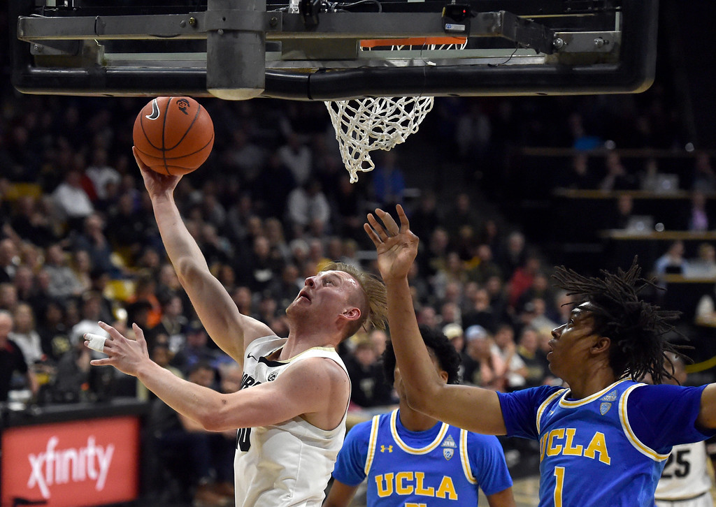 . BOULDER, CO - MARCH 7, 2019: University of Colorado\'s  Alexander Strating goes for a layup during a NCAA game against UCLA on Thursday at the CU Events Center on the CU campus in Boulder. More photos: Buffzone.com  (Photo by Jeremy Papasso/Staff Photographer)