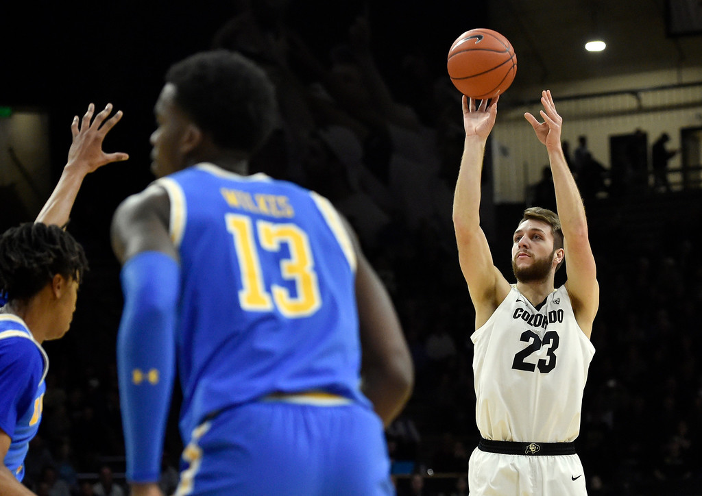 . BOULDER, CO - MARCH 7, 2019: University of Colorado\'s Lucas Siewert takes a shot during a NCAA game against UCLA on Thursday at the CU Events Center on the CU campus in Boulder. More photos: Buffzone.com  (Photo by Jeremy Papasso/Staff Photographer)
