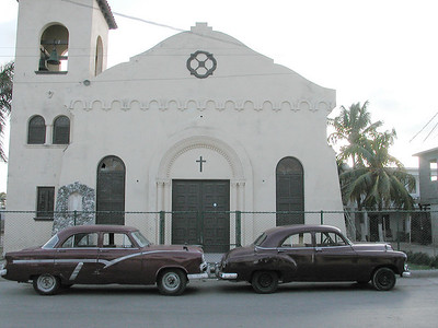 •••  Carros de Cuba - Cars of Cuba  •••  -- In front of the Church --  Santa Fe, Cuba  A Small Fishing town