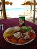 Sauteed shrimp, rice and Caribbean sweet potato from a beach bar on Playa El Megano, east of Havana, Cuba.