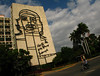 A metal mural of Che Guevara watches over the Plaza de la Revolucion from the building that houses the Ministry of the Interior in Havana, Cuba.