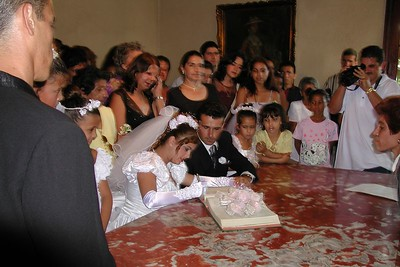 "- The wedding ""I Do"" is in the form of a signature in a traditional State run Cuban wedding."