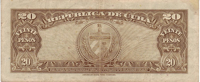 Dinero de Cuba - This is the back of a Cuban 20 Pesos paper back bill from the days when Che was the President of the Bank of Cuba.  Cuban Pesos  Note: The bottom of the pages says..... American Bank Note Company