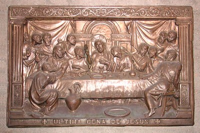 "*****  The Last Supper  - La Ultima Cena de Jesus *****   This appears to be a mold made from a metal blend of primarily copper. People around the world have e-mailed to ask more about it. Seems there are many similar yet different ""models"" of this  artwork... Beautiful."