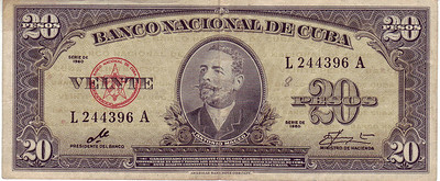 Dinero de Cuba - This is the front of a Cuban Bill back in the day when Che was the President of the Bank. Check out the signature  ....looks like a che to me.  20 - Cuban Pesos - Veinte  Appears to be of the series from 1940 through 1960...but that should be researched.