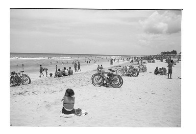 People and Bicycles on Havana Beach