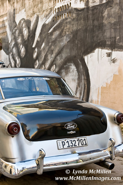 Classic Ford and workers mural.