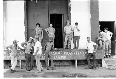 Cuban Workers on Break. Sugar Cane Processing Plant, Cuba 1991
